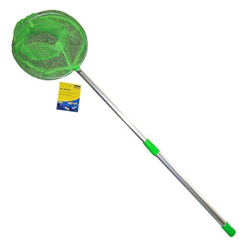 Idena 40080 - Kescher aus Aluminium mit ausziehbarer Teleskopstange, von ca. 57 cm bis ca. 84 cm, für Kinder oder zum Angeln, grün