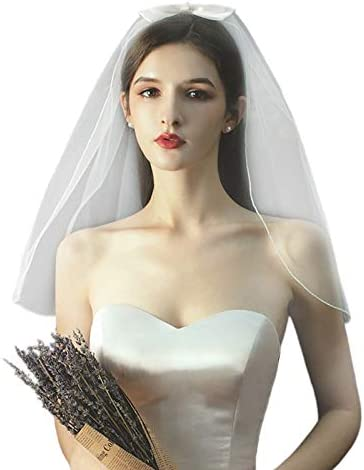 Korean Women 1 Tier Short Challenge the lowest price of Japan Tulle Curved Pe Veil Wedding Trim Faux New mail order