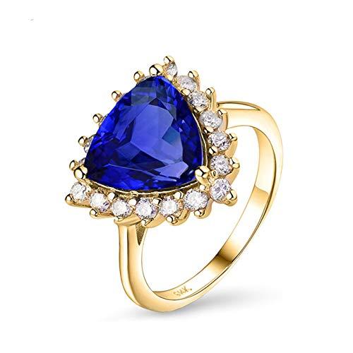 Amody Anillo de Oro Mujer 14 Kilates, Anillos Compromiso Mujer 3ct Triangular Tanzanita 0.55ct Diamante Tamaño 27