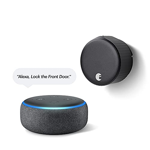 August Wi-Fi Smart Lock (Newest Model), Matte Black– Compatible with Alexa and Other Smart Home Systems – Includes Echo Dot (3rd Gen in Charcoal) – Item Ships Separately