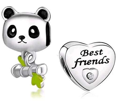 Marni's – 2 abalorios, 1 Oso Panda y 1 Corazón Mejores Amigas - Cuentas para pulseras y collares estilo europeo. Regalo de cumpleaños, San Valentín o aniversario para niñas y mujeres