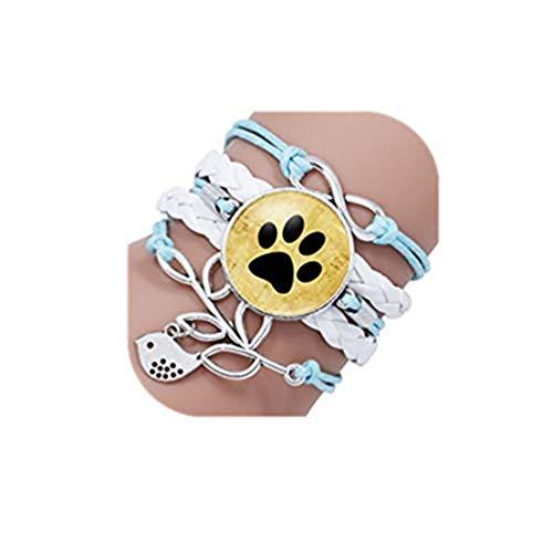 GYKMDF - Pulsera de cabujón de cristal para perros y amantes de la huella de perro infinito