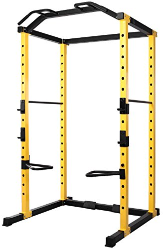 HulkFit 1000-Pound Capacity Multi-Function Adjustable Power Cage with J-Hooks and Dip Bars, Power Cage Only, Yellow