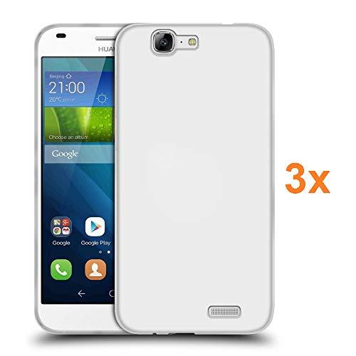 REY 3X Funda Carcasa Gel Transparente para Huawei Ascend G7, Ultra Fina 0,33mm, Silicona TPU de Alta Resistencia y Flexibilidad