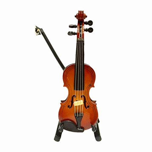 Escala 1/12 Juguete Violín de Madera Instrumento de Música en Miniatura con Caja Accesorios de Dollhouse