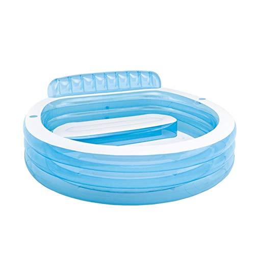 Bubbelbaden Opblaasbaar met elektrische luchtpomp Opvouwbaar Duurzaam babyzitje Hot Tubs, 224 * 216 * 76 cm blauw