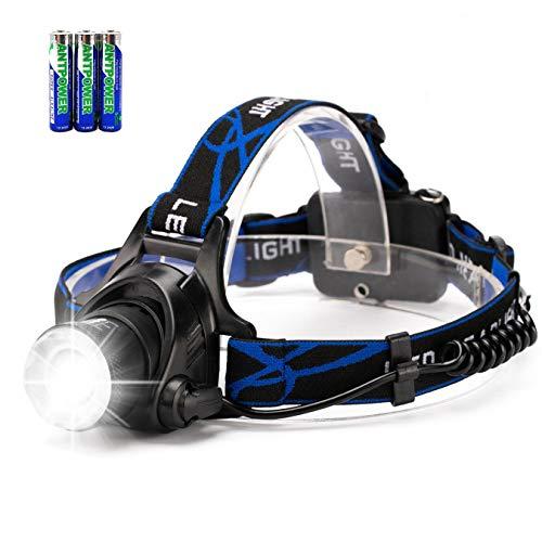 Torche principale de phare de LED, HFAN Super lumineux 3 modes 800 Lumens réglable phare imperméable à l'eau Zoomable pour camper, équitation, course, marche de nuit, pêche, chasse, lecture, réparation de voiture, bricolage fonctionne ect