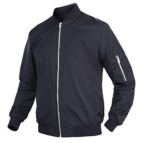 Lacsinmo Men's Casual Bomber Jacket Outdoor Lightweight Sportwear Jacket Navy Blue
