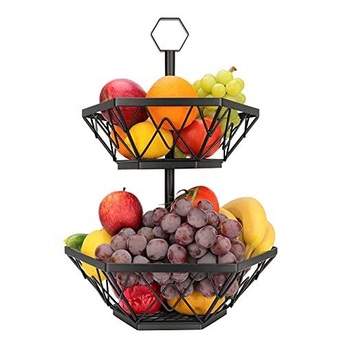 Obst Etagere Obstkorb Metall für mehr Platz auf der Arbeitsplatte dekorativer Obstschale Vintage 2 stöckig (schwarz)
