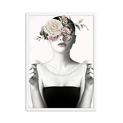 Carteles e impresiones de lienzo de pintura de niña de retrato MY-supeng, cuadro de impresión de arte de pared de flores, para decoración de sala de estar, arte 60X80Cm