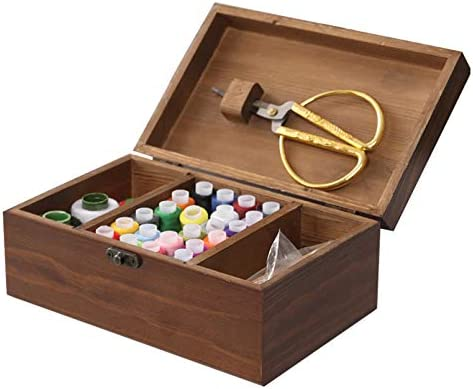 kathson Wooden Sewing Kit Set Universal Vintage Box Accessories Basic Home Sewing Basket Stitching product image