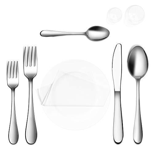 Cliusnra Juego de cubiertos de acero inoxidable: 20 piezas de cubiertos forjados plateados de plata para cocinas de uso diario pesado Master Cuisine Dinner Basic vajilla tenedores cuchara cuchillos