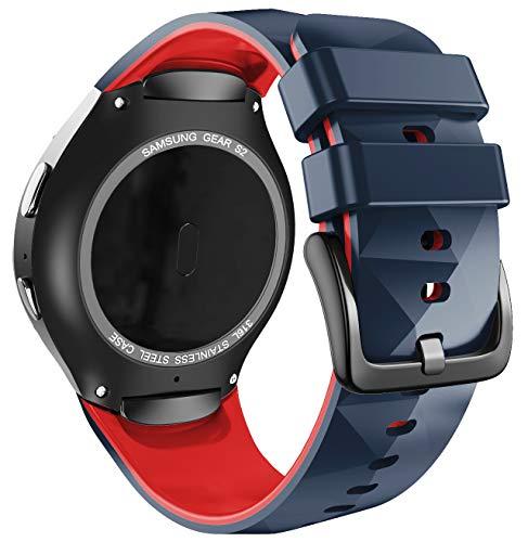 ANBEST Silikon Sport Armband Kompatibel mit Samsung Gear S2 Sport Armbänder Erstatzband Uhrenarmband für Gear S2 SM-R720/SM-R730 Smart Watch (Nicht für Gear S2 SM-R732), Stein/Rot, Groß