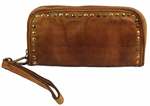 BZNA Berlin Romy cognac Wallet sheep Leather Leder Portemonnaie Geldbörse Neu