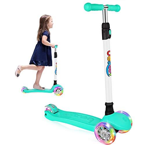 Beleev Scooter Roller Kinder Kinderroller Dreirad für Kinder Klein Mädchen und Jungen, Kinderscooter von 3 bis 12 Jahren, 3 Led Räder Roller mit 4 Höhenverstellbare und Verstellbare Lenker (Teal)