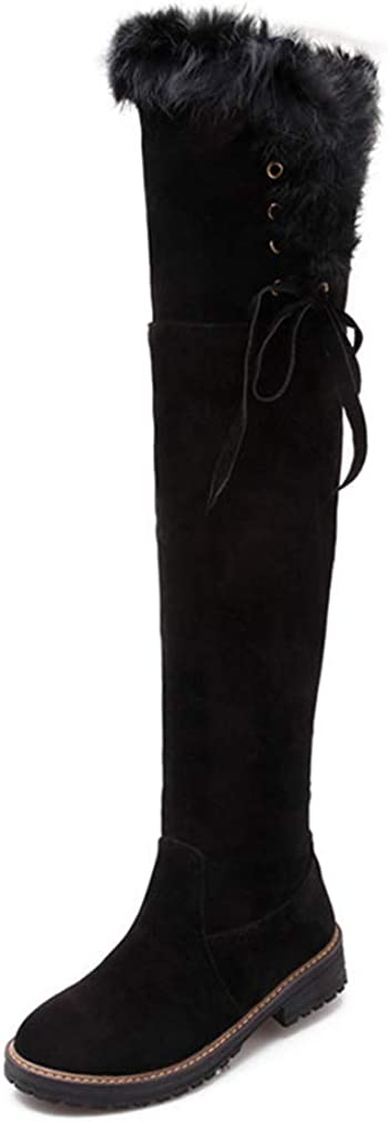 Popular shop is the lowest price challenge Womens Thigh High Flat Boots Pull Ranking TOP19 on Block Low O Suede Heel Faux