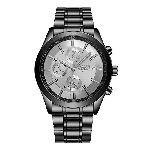 BOSCK Reloj de Pulsera para Hombre Sin Cronografo, Relojes con Correa de Acero Inoxidable, Movimiento de Cuarzo, Relojes analógicos Resistentes al Agua para Empresas (Blanco)