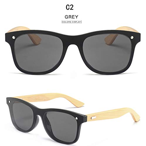 FJCY Gafas de Sol de Madera Hombre, para Mujer, cuadradas de bambú, para Mujer, para Hombre, con Espejo, Gafas de Sol Retro-6-Kp1581-C2