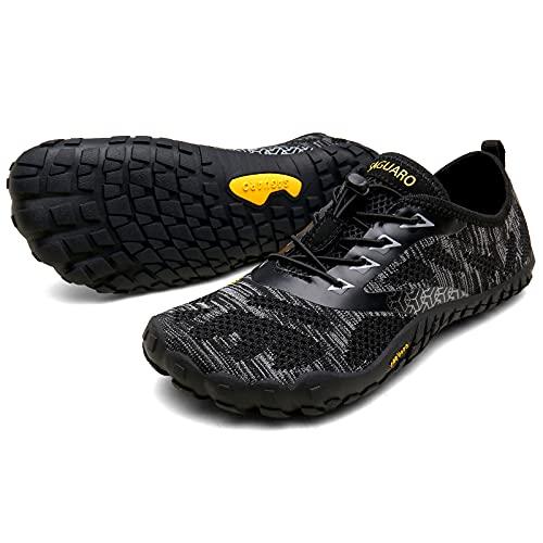 SAGUARO Scarpe Barefoot Minimaliste Uomo Donna Scarpe Multisport per Corsa/Allenamento/Trekking/Trail Running/Palestra/Camminata Scogli Sabbia Acqua - Morbido Comode e Leggere, Nero, 43 EU