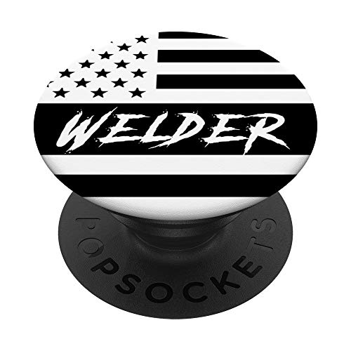 Welding American Flag | Patriotic Gift For Welder Pipeliner PopSockets PopGrip: Swappable...