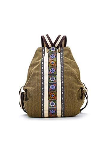 ACAMPTAR Tribal Ethnic Canvas Damen Rucksack Tasche Hippie Schultertasche Maedchen Boho Rucksack