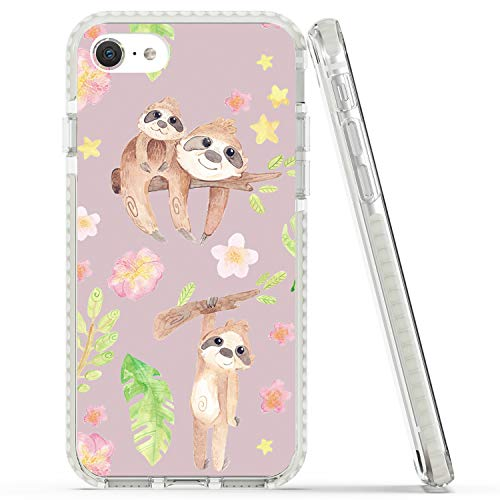Rose Lake Flower and Animal Phone Case for iPhone SE 2020 iPhone 8 iPhone 7 Cover, Three Sloths Floral Pattern Girls Women Pink TPU Shockproof Bumper Back Case 4.7-inch