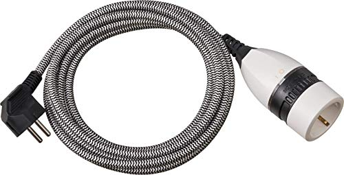 Brennenstuhl cable alargador de plástico 3 m con cubierta textil y interruptor giratioria (alargador eléctrico para interiores, cable de 3 m, interruptor iluminado)negro/blanco