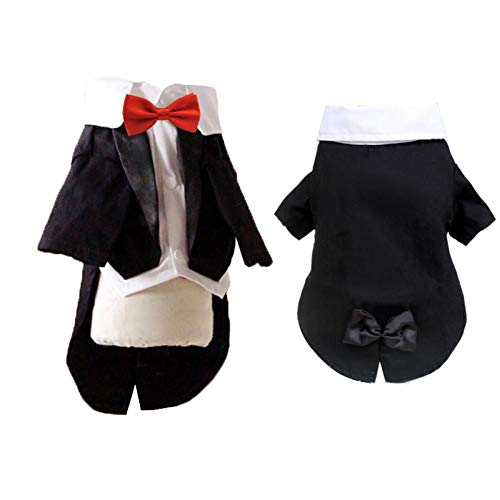 YMSYMS Male Dog Clothes Boy Dog Suit Tuxedo Coat Jacket Puppy Pet Wedding Dress Small Dog Costume Black Pet Party Apparel