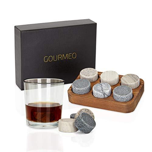 GOURMEO Whisky Steine (6 Stück) aus Marmor und Granit I wiederverwendbare Eiswürfel, Whiskysteine, Whisky Stones, Kühlsteine - 3