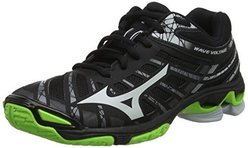Mizuno Wave Voltage, Zapatillas de Voleibol Unisex Adulto, Negro Negro Alto Rise Verde Gecko 37, 43 EU