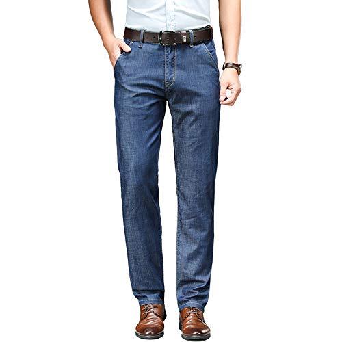 Men's Jeans Business Straight Leg Stretch Summer Thin Straight Leg Large 38 Navy Blue