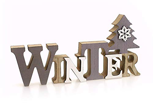 Deko Holzaufsteller Schriftzug Winter 23 x 11 cm Groß, Holz Grau Weiß Braun, Landhausstil Aufsteller Dekoschild Holzschild Winterdeko