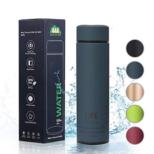 king do way Botella de Agua de Acero Inoxidable 500ML, Termo Sin BPA Ecológica, Botellas Termica Reutilizable Frascos Térmicos para Al Aire Libre, Yoga, Escuela, Niño