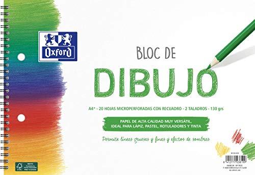 Oxford Bloc Dibujo A4+ Tapa Blanda/Contratapa rígida 20 Hojas 130gr Con Recuadro, 2 Taladros y Espiral