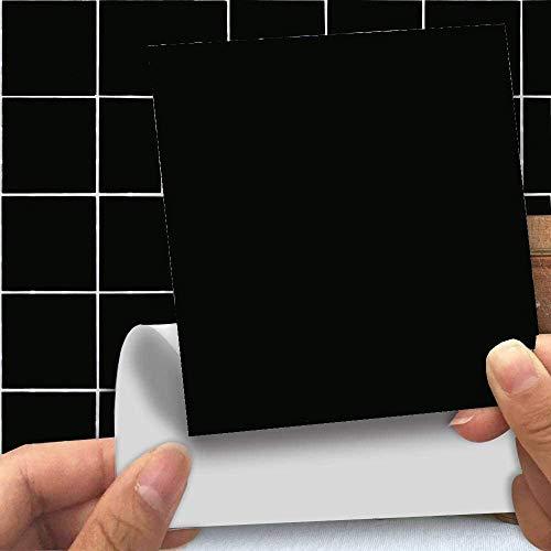 Holoras Peel and Stick Tile Backsplash for Kitchen, 6'' x 6'' Removable Stick On Kitchen Backsplash Wall Sticker, 50pcs (50pcs, Black)