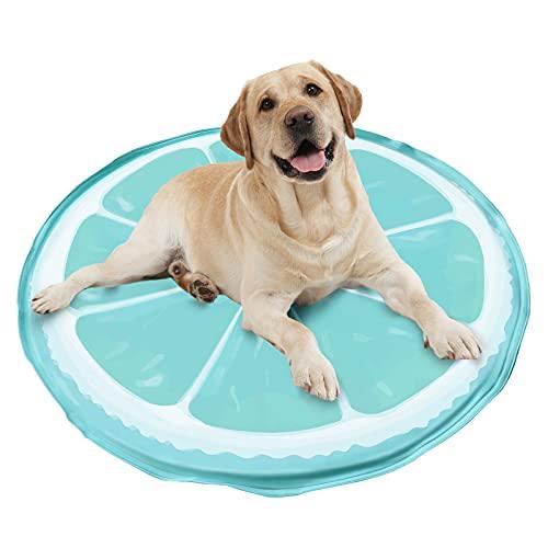GoPetee Haustier Kühlmatte, Selbstkühlend Kühlmatte für Hund & Katzen, Druckaktivierte Gel Hund Kühldecke, Kein Wasser oder Kühlschrank Benötigt,Kratzfest, Wasserdicht, runde Kuhlmatte (60*60)