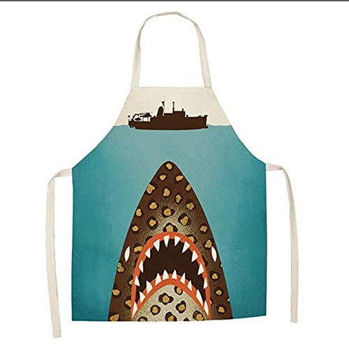 JOLIANN Delantal Dibujos Animados Tiburón Océano Patrón Antiincrustante A Prueba De Polvo Baberos De Algodón Y Lino para...