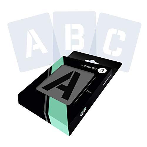 QBIX Ensemble de pochoirs lettres de l'alphabet et majuscules - Hauteur : 7,2 cm - Réutilisables - Pour peinture, travaux manuels, murs, meubles