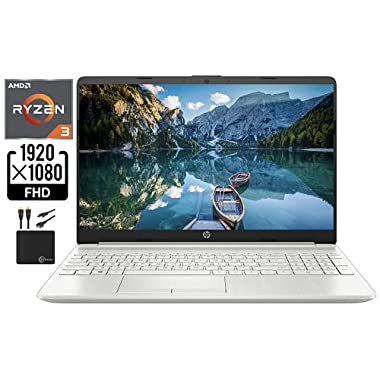 2021 Newest HP Laptop Computer, 15.6″ FHD 1080p Display, AMD Dual-Core Ryzen 3 3250U (Beat i3-10110U) Upto 3.5 GHz, 4GB DDR4 RAM, 128GB SSD, HD Webcam, HDMI, Bluetooth, WiFi, Win10 S, w/Marxsol Cables