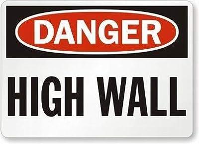 VinMea Danger: High Wall Pancarte en étain 12 x 16 cm Décoration extérieure