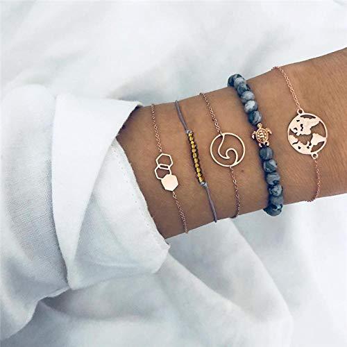 NA Armband SchmuckVintage Runde Weltkarte Herz Infinity Wave Armbänder Set Für Frauen Stein Perlen Kette Multilayer Armband Armreifen Schmuck Boho Schild