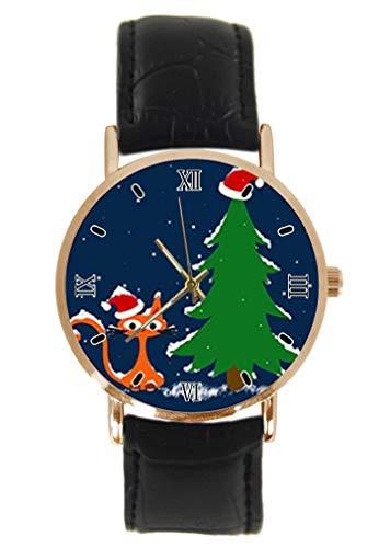 Reloj de Pulsera con diseño de árbol de Navidad y Gato de la Suerte, de Cuarzo, analógico, Unisex, de Acero Inoxidable, Correa de Cuero