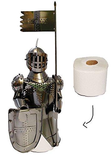 alles-meine.de GmbH Toilettenrollen Halter -  Ritter mit Schild und Fahne  - aus Metall - Toilettenpapierhalter - Ritterburg Mittelalter - Aufbewahrung - als Skulptur / Schrauben..