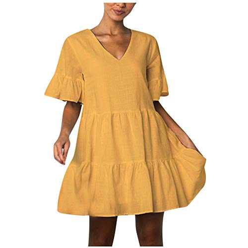 riou Vestido para Mujer Cuello V Casual Color Sólido Primavera Verano 2021 Corta Mangas Vestidos Regalo del Dia de la Madre Cuello De Playa Adecuado para un Picnic Fiestas