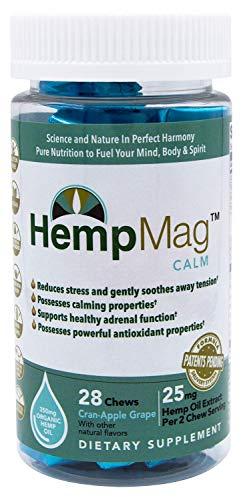 HempMag CALM - Organic Hemp Oil Extract (350 mg / 28 ct) - Magnesium - B-vitamins, Biotin, Niacin-Bound Chromium - Full Spectrum Support
