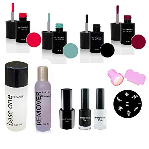 Nail Art UV Vernis à ongles set N°4, UV Vernis à ongles, dissolvant, Cleaner, Base & Top Vanish, Kit d'estampage