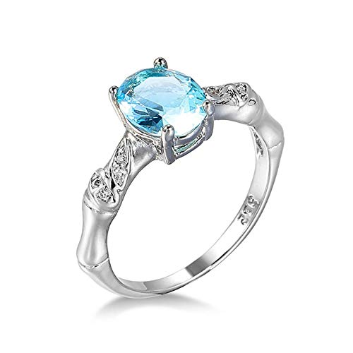 Malinmay Dragon Ring Sterling Silver, Stainless Steel Simple Ring Topaz Woman's Aquamarine Zircon for Wedding Engagement Gifts Silver P 1/2