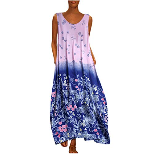 HebeTop Women Loose Dress Casual Summer Floral Print V-Neck Ethnic Bohemian Oversize Caftan Long Maxi Dress Blue