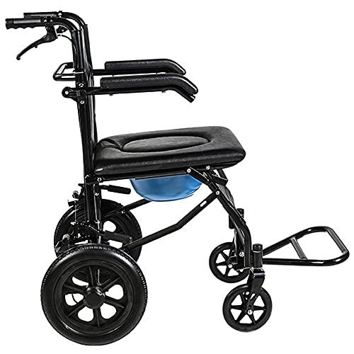 ZAQI Sillas de Ruedas Transporte Silla de Ruedas para Adultos Mayores discapacitados, Plegable portátil Silla de Ruedas con Frenos, Cojines Impermeables, Fuera de Caminante Fuerte