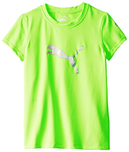 PUMA Little Girls' Short Sleeve Core Tee Shirt, Med Heather Grey, 6